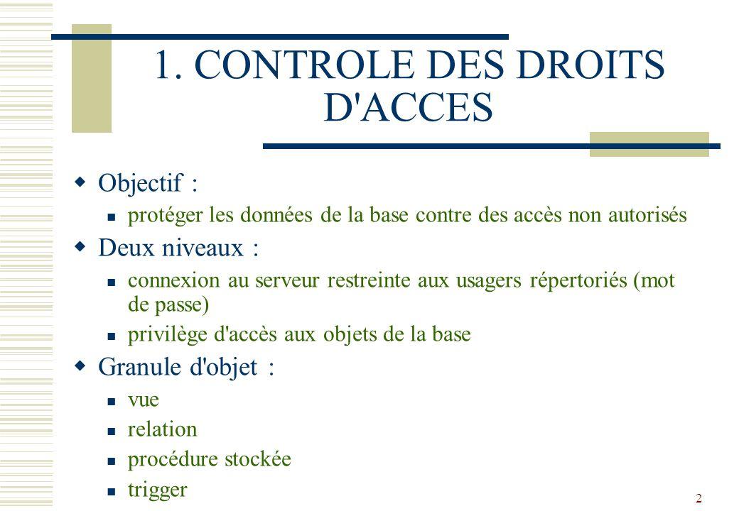 2 1. CONTROLE DES DROITS D'ACCES Objectif : protéger les données de la base contre des accès non autorisés Deux niveaux : connexion au serveur restrei