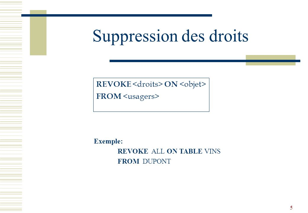 5 Suppression des droits REVOKE ON FROM Exemple: REVOKE ALL ON TABLE VINS FROM DUPONT