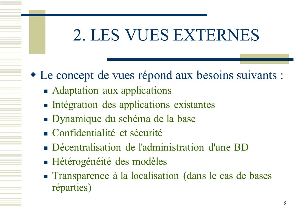 8 2. LES VUES EXTERNES Le concept de vues répond aux besoins suivants : Adaptation aux applications Intégration des applications existantes Dynamique