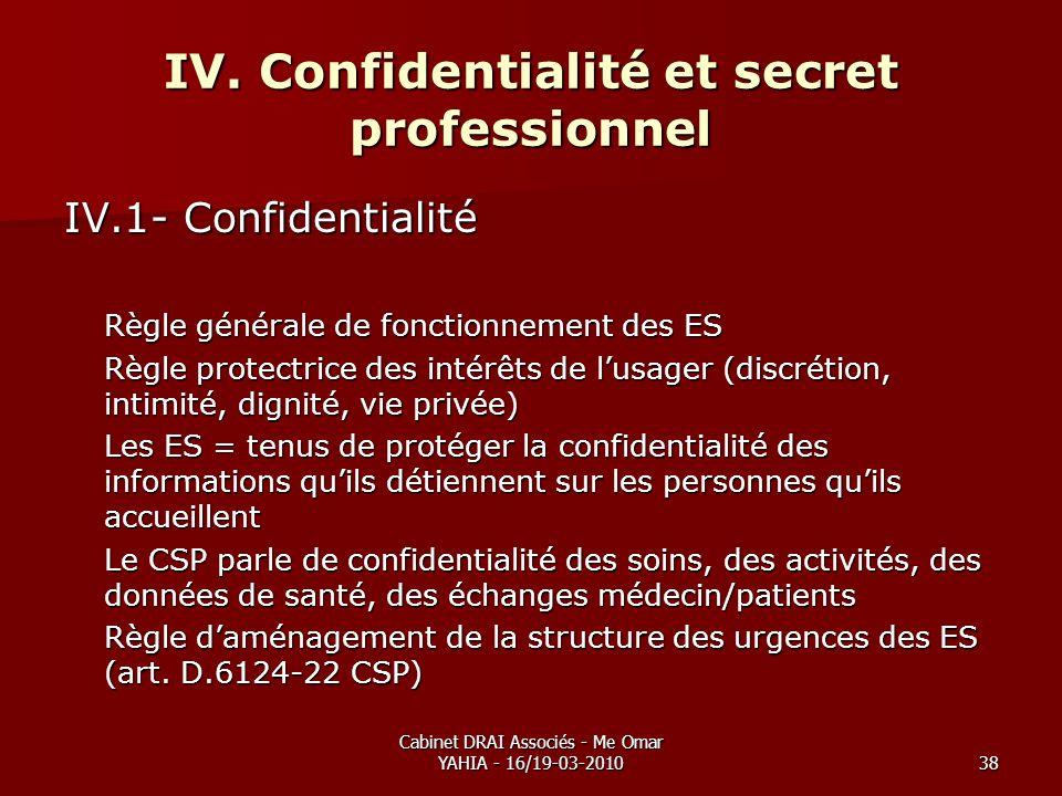 Cabinet DRAI Associés - Me Omar YAHIA - 16/19-03-201038 IV. Confidentialité et secret professionnel IV.1- Confidentialité Règle générale de fonctionne