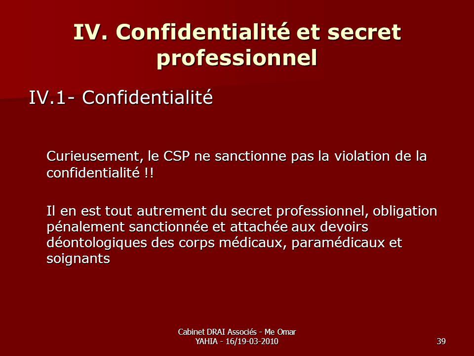 Cabinet DRAI Associés - Me Omar YAHIA - 16/19-03-201039 IV. Confidentialité et secret professionnel IV.1- Confidentialité Curieusement, le CSP ne sanc