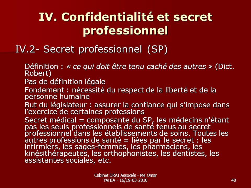 Cabinet DRAI Associés - Me Omar YAHIA - 16/19-03-201040 IV. Confidentialité et secret professionnel IV.2- Secret professionnel (SP) Définition : « ce