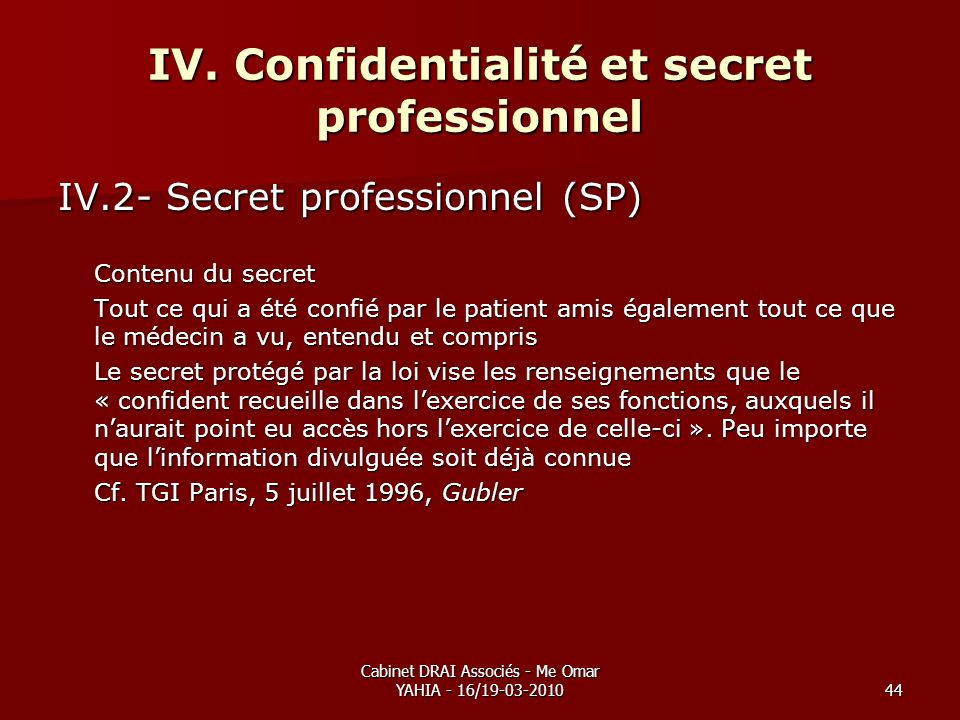 Cabinet DRAI Associés - Me Omar YAHIA - 16/19-03-201044 IV. Confidentialité et secret professionnel IV.2- Secret professionnel (SP) Contenu du secret
