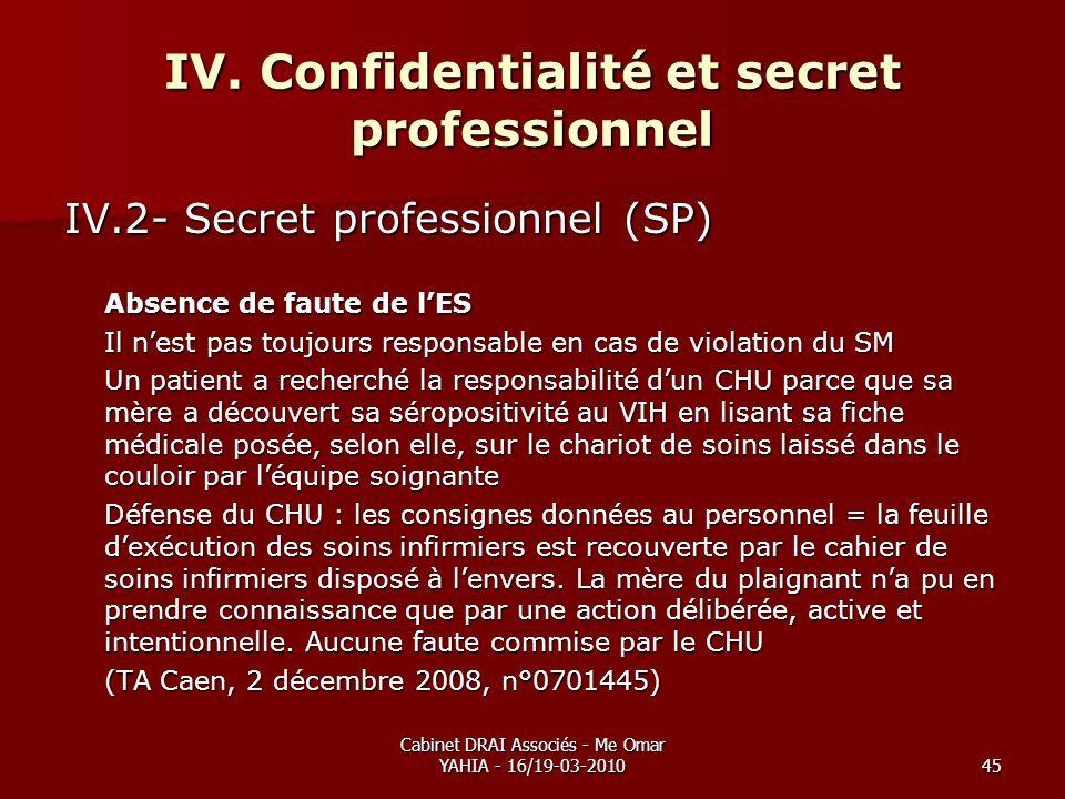 Cabinet DRAI Associés - Me Omar YAHIA - 16/19-03-201045 IV. Confidentialité et secret professionnel IV.2- Secret professionnel (SP) Absence de faute d