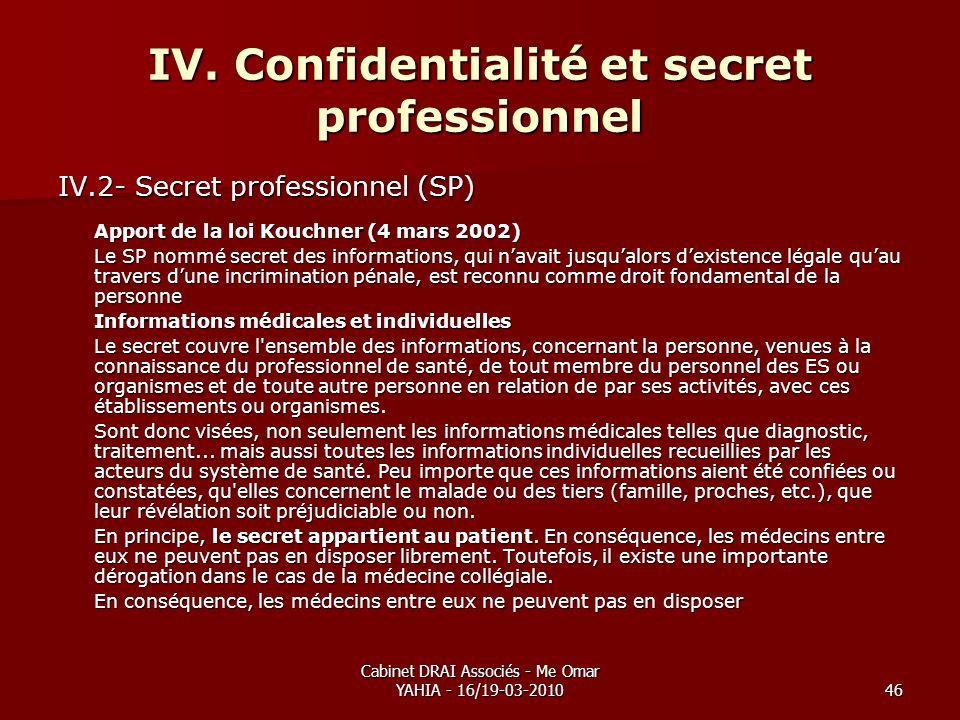 Cabinet DRAI Associés - Me Omar YAHIA - 16/19-03-201046 IV. Confidentialité et secret professionnel IV.2- Secret professionnel (SP) Apport de la loi K
