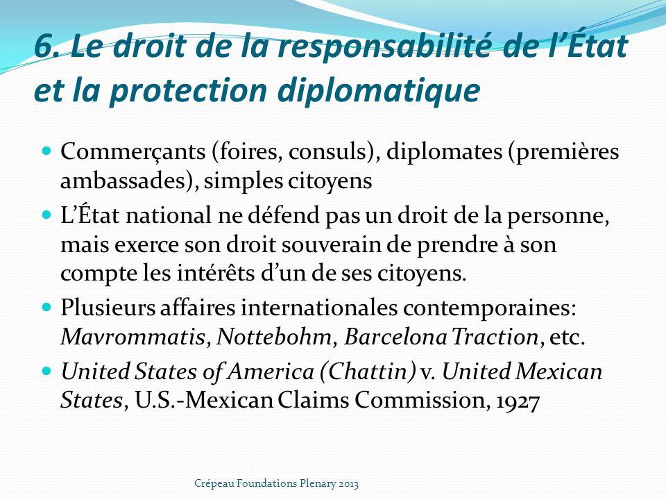 6. Le droit de la responsabilité de lÉtat et la protection diplomatique Commerçants (foires, consuls), diplomates (premières ambassades), simples cito