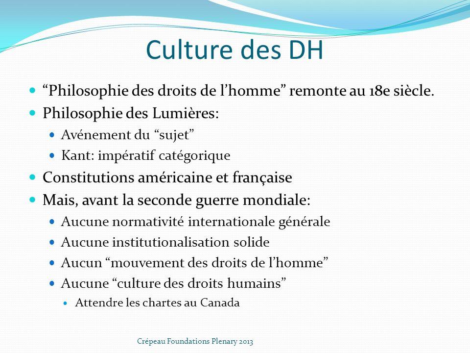 Culture des DH Philosophie des droits de lhomme remonte au 18e siècle.