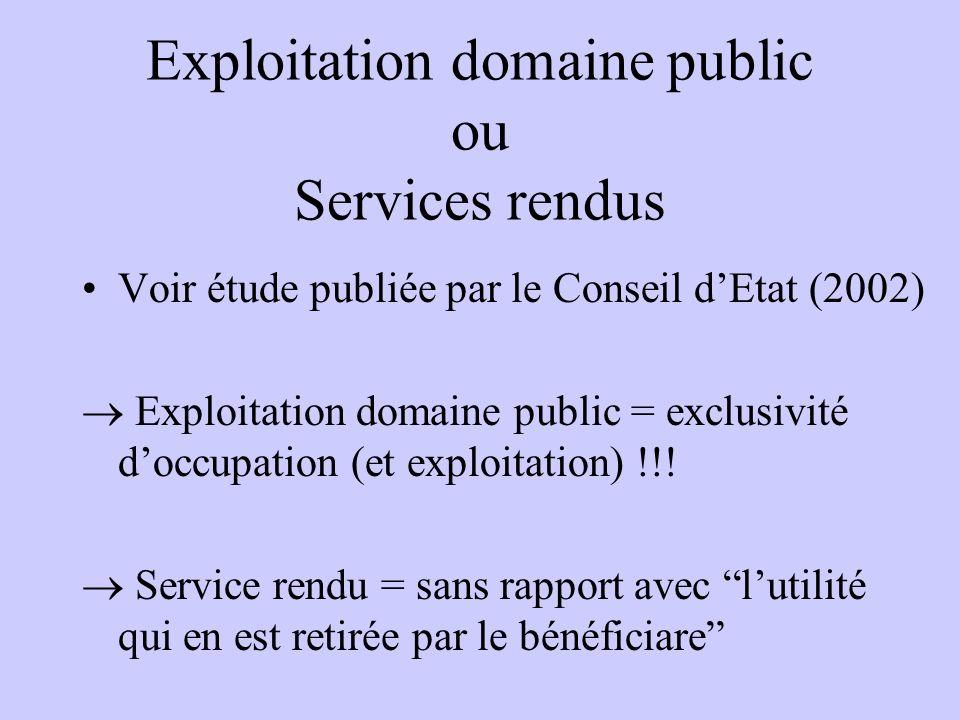 Exploitation domaine public ou Services rendus Voir étude publiée par le Conseil dEtat (2002) Exploitation domaine public = exclusivité doccupation (e