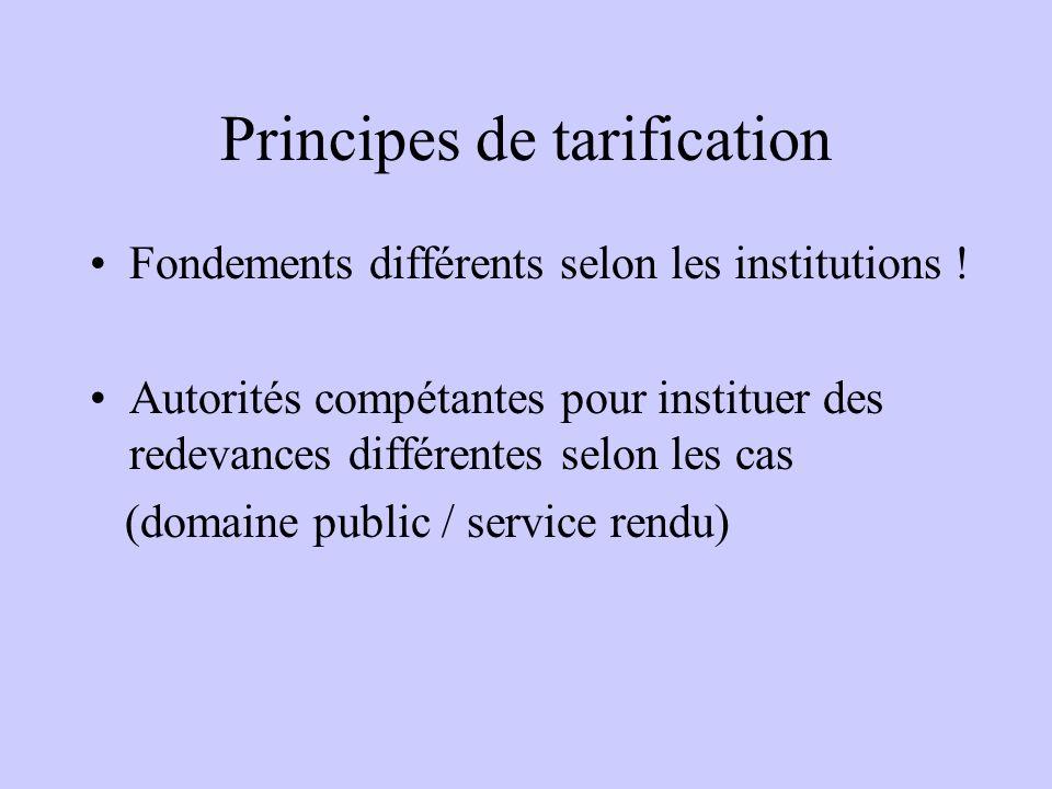 Principes de tarification Fondements différents selon les institutions ! Autorités compétantes pour instituer des redevances différentes selon les cas