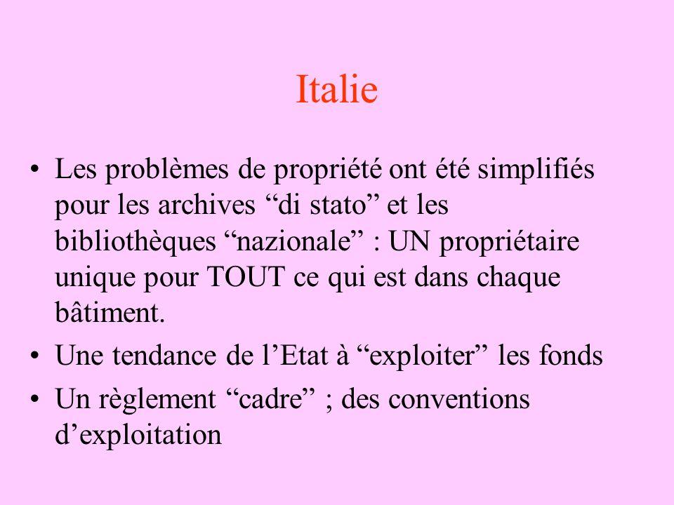 Italie Les problèmes de propriété ont été simplifiés pour les archives di stato et les bibliothèques nazionale : UN propriétaire unique pour TOUT ce q