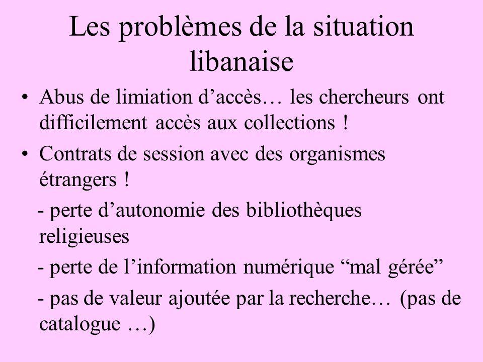 Les problèmes de la situation libanaise Abus de limiation daccès… les chercheurs ont difficilement accès aux collections ! Contrats de session avec de
