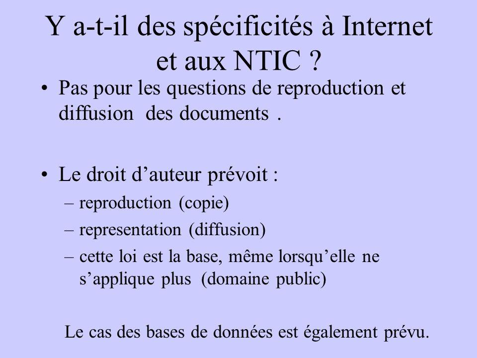 Y a-t-il des spécificités à Internet et aux NTIC ? Pas pour les questions de reproduction et diffusion des documents. Le droit dauteur prévoit : –repr
