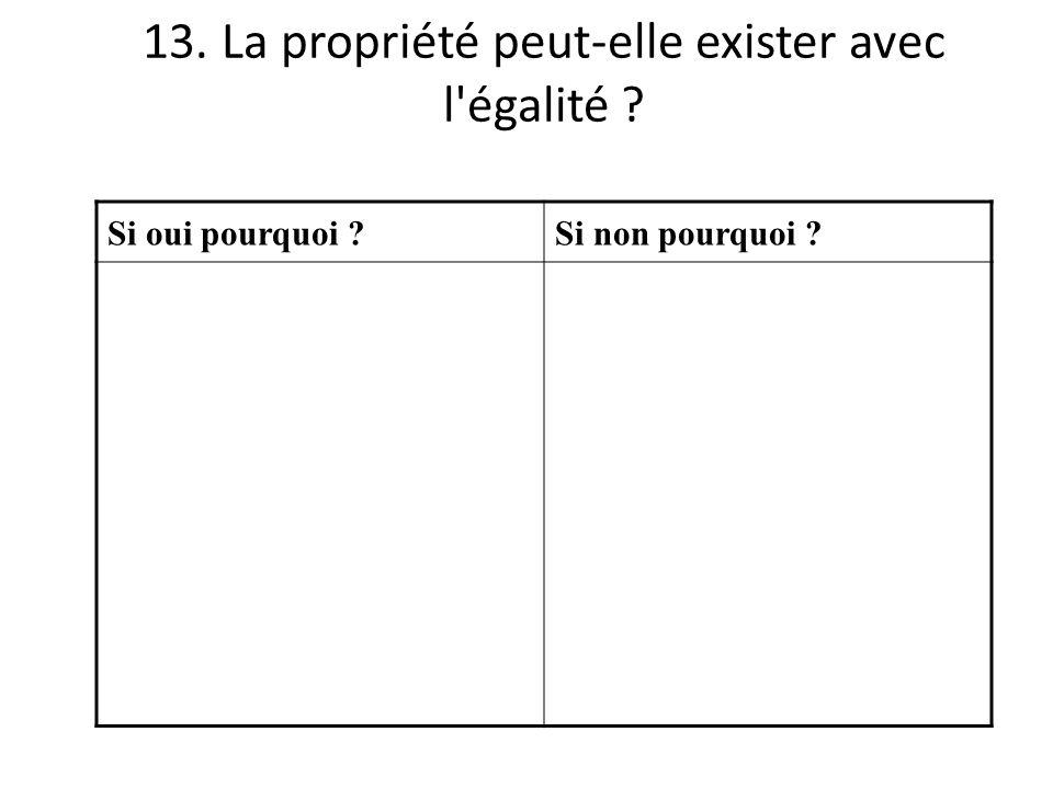 13. La propriété peut-elle exister avec l'égalité ? Si oui pourquoi ?Si non pourquoi ?