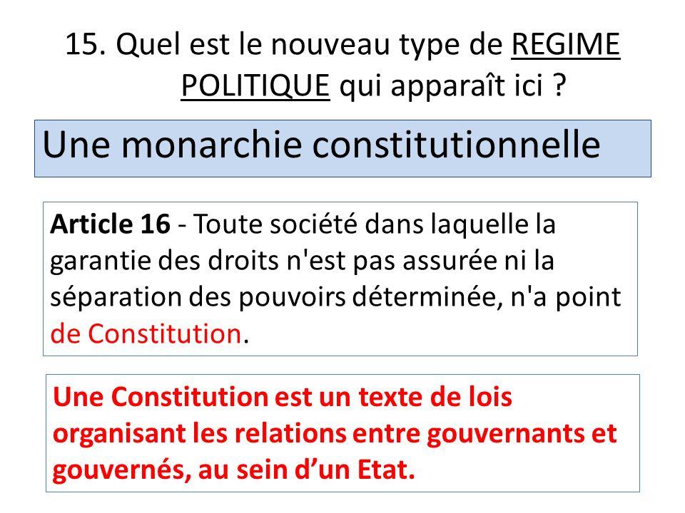 15. Quel est le nouveau type de REGIME POLITIQUE qui apparaît ici ? Une monarchie constitutionnelle Article 16 - Toute société dans laquelle la garant