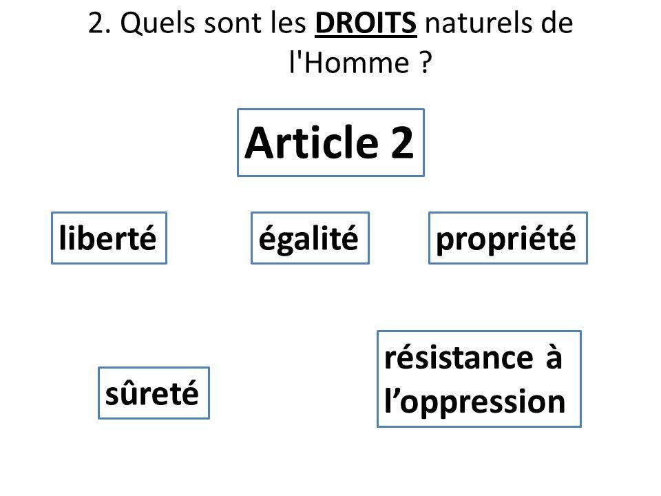 2. Quels sont les DROITS naturels de l'Homme ? libertéégalité Article 2 propriété sûreté résistance à loppression