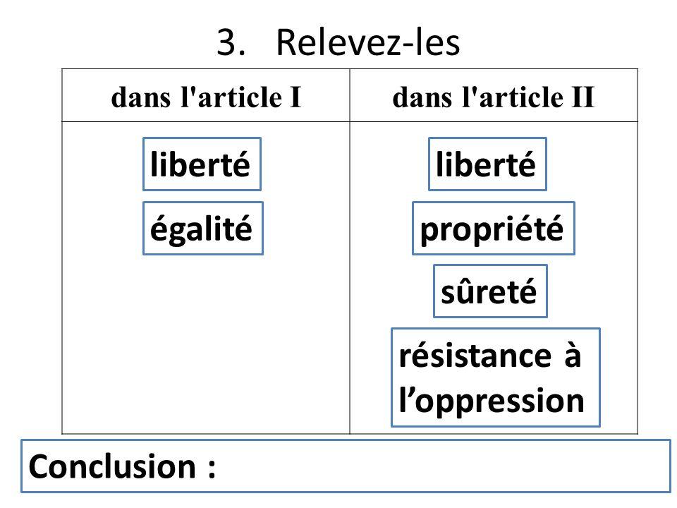 3. Relevez-les dans l'article Idans l'article II liberté égalitépropriété sûreté résistance à loppression liberté Conclusion :