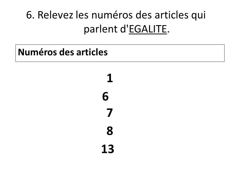 6. Relevez les numéros des articles qui parlent d'EGALITE. Numéros des articles 1 6 7 8 13
