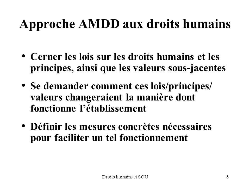 8Droits humains et SOU Approche AMDD aux droits humains Cerner les lois sur les droits humains et les principes, ainsi que les valeurs sous-jacentes S