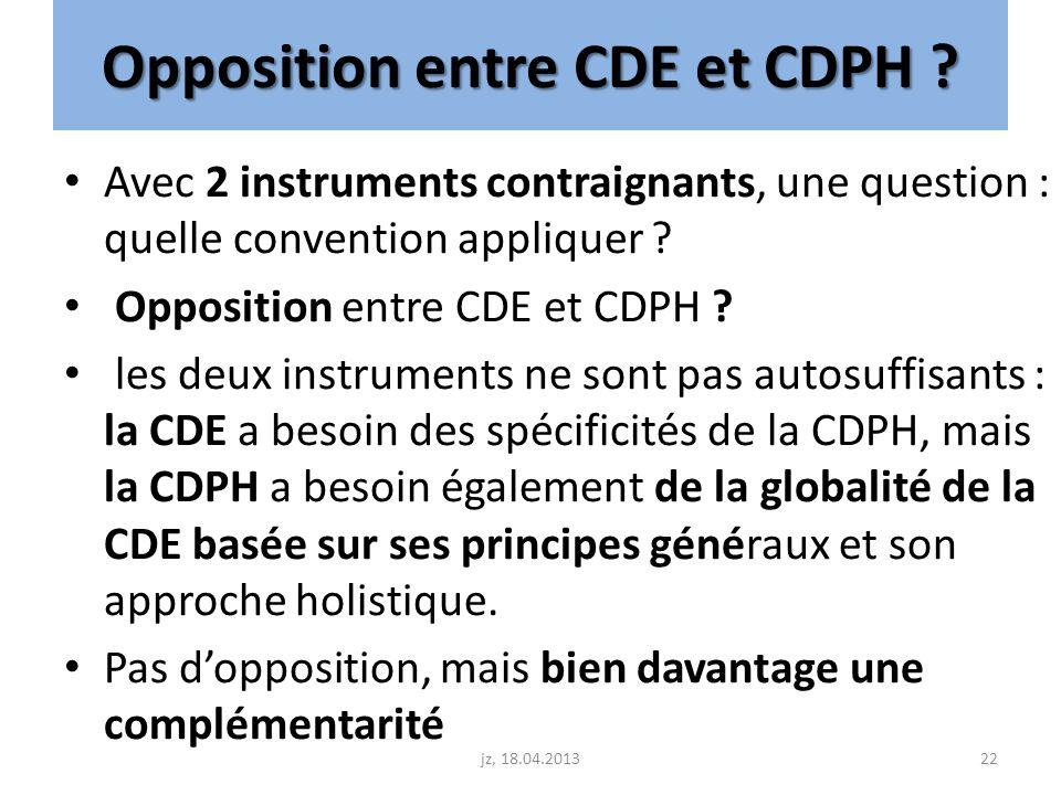 Opposition entre CDE et CDPH ? Avec 2 instruments contraignants, une question : quelle convention appliquer ? Opposition entre CDE et CDPH ? les deux