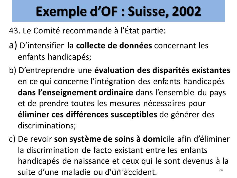 Exemple dOF : Suisse, 2002 43. Le Comité recommande à lÉtat partie: a) Dintensifier la collecte de données concernant les enfants handicapés; b) Dentr