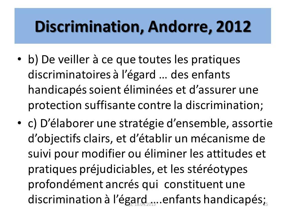 Discrimination, Andorre, 2012 b) De veiller à ce que toutes les pratiques discriminatoires à légard … des enfants handicapés soient éliminées et dassu