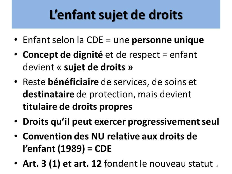 Lenfant sujet de droits Enfant selon la CDE = une personne unique Concept de dignité et de respect = enfant devient « sujet de droits » Reste bénéfici