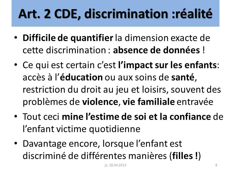 Art. 2 CDE, discrimination :réalité Difficile de quantifier la dimension exacte de cette discrimination : absence de données ! Ce qui est certain cest