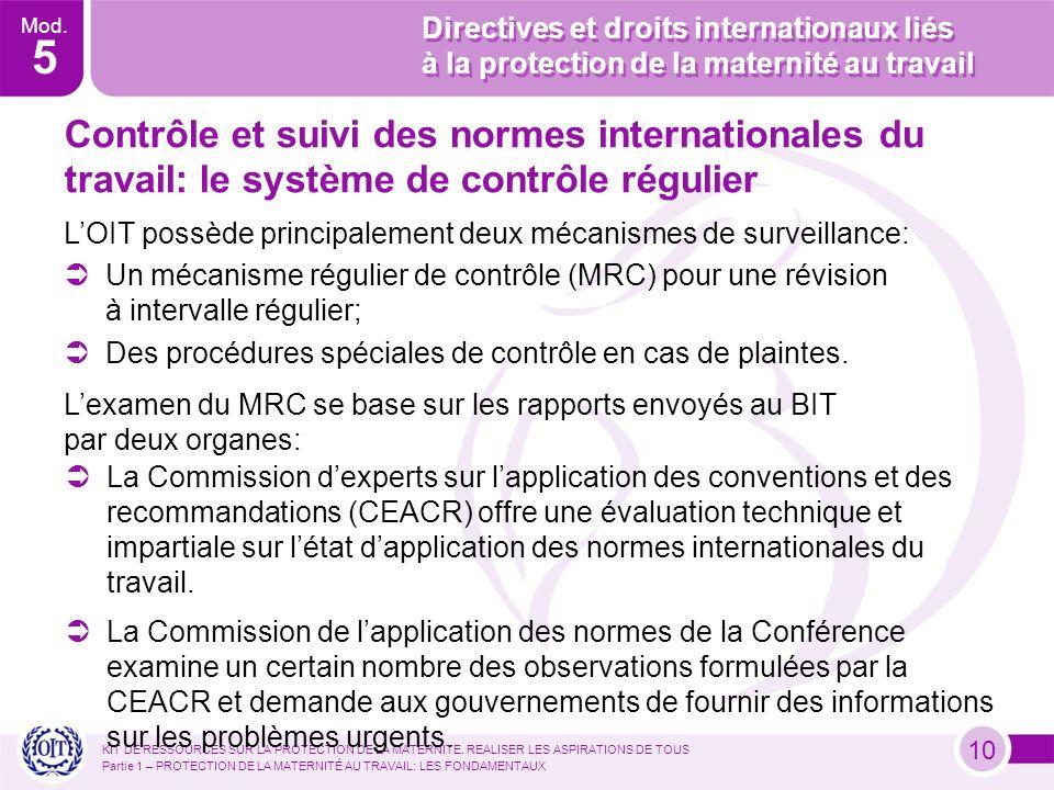 Mod. 5 Directives et droits internationaux liés à la protection de la maternité au travail KIT DE RESSOURCES SUR LA PROTECTION DE LA MATERNITE. REALIS