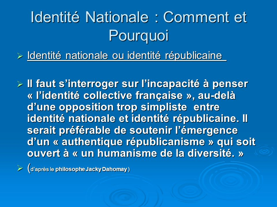 Identité Nationale : Comment et Pourquoi Et les autres ?: Le peuple français se définit par son histoire, sa langue et des idéaux en partage. Par le p