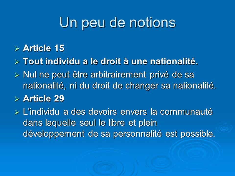 Un peu de notions La nation dans la D.U.D.H La nation dans la D.U.D.H PREAMBULE : Considérant qu'il est essentiel d'encourager le développement de rel