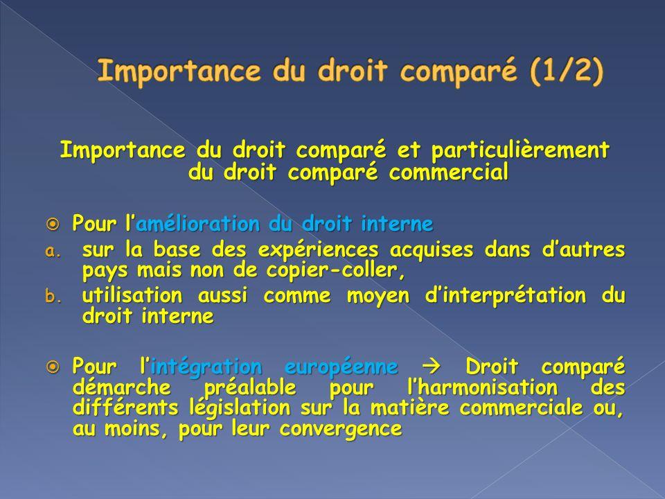 Importance du droit comparé et particulièrement du droit comparé commercial Pour lamélioration du droit interne Pour lamélioration du droit interne a.