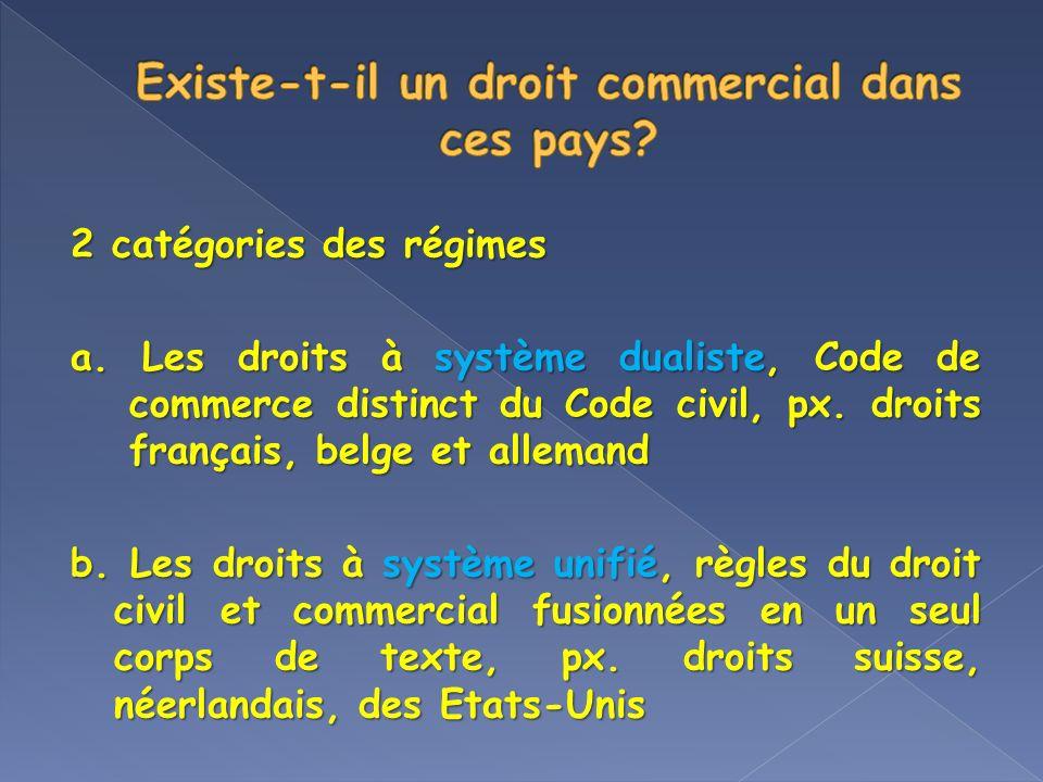 2 catégories des régimes a. Les droits à système dualiste, Code de commerce distinct du Code civil, px. droits français, belge et allemand b. Les droi