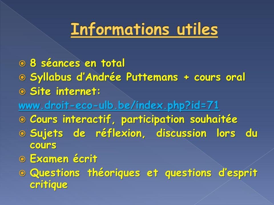 8 séances en total 8 séances en total Syllabus dAndrée Puttemans + cours oral Syllabus dAndrée Puttemans + cours oral Site internet: Site internet:www
