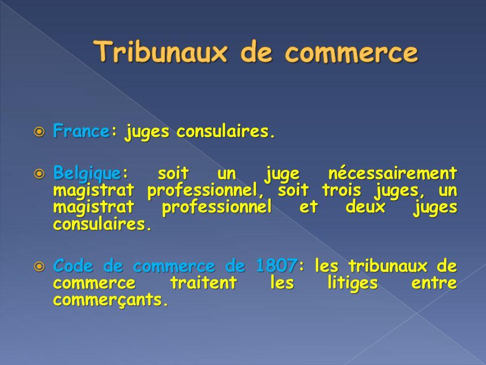 France: juges consulaires. France: juges consulaires. Belgique: soit un juge nécessairement magistrat professionnel, soit trois juges, un magistrat pr