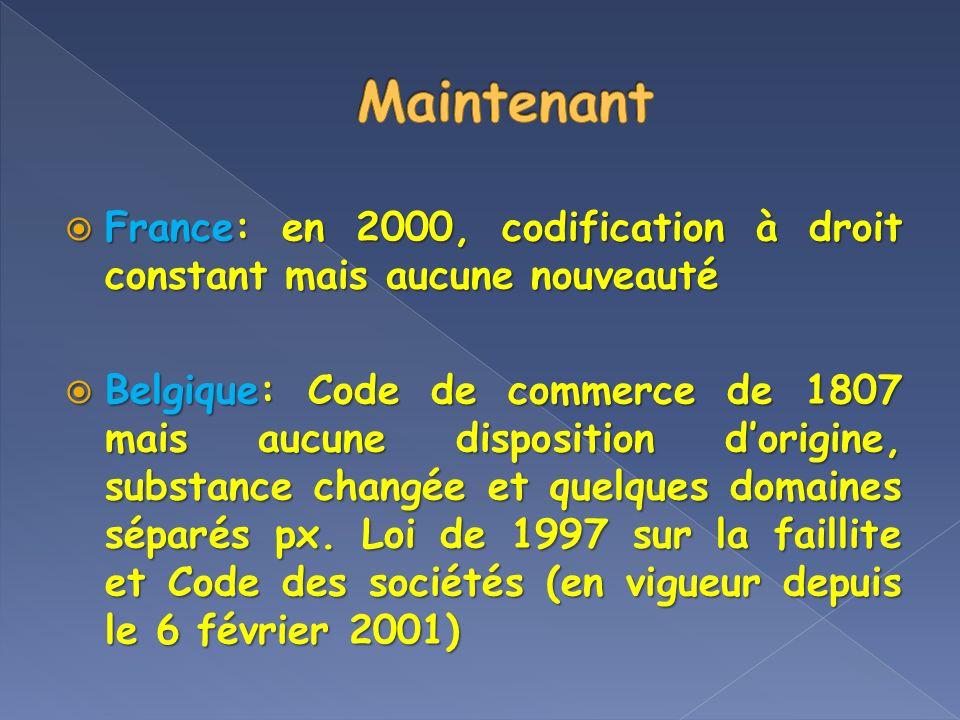 France: en 2000, codification à droit constant mais aucune nouveauté France: en 2000, codification à droit constant mais aucune nouveauté Belgique: Co
