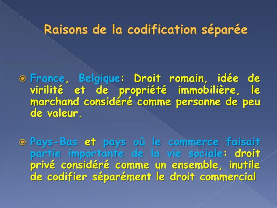 France, Belgique: Droit romain, idée de virilité et de propriété immobilière, le marchand considéré comme personne de peu de valeur. France, Belgique:
