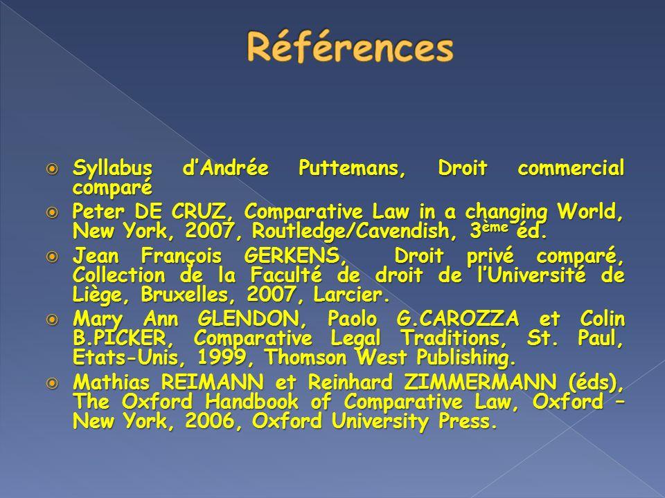 Syllabus dAndrée Puttemans, Droit commercial comparé Syllabus dAndrée Puttemans, Droit commercial comparé Peter DE CRUZ, Comparative Law in a changing