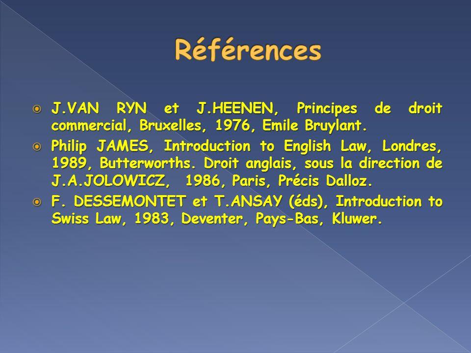J.VAN RYN et J.HEENEN, Principes de droit commercial, Bruxelles, 1976, Emile Bruylant. J.VAN RYN et J.HEENEN, Principes de droit commercial, Bruxelles