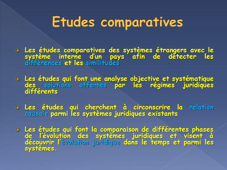 Les études comparatives des systèmes étrangers avec le système interne dun pays afin de détecter les différences et les similitudes Les études compara