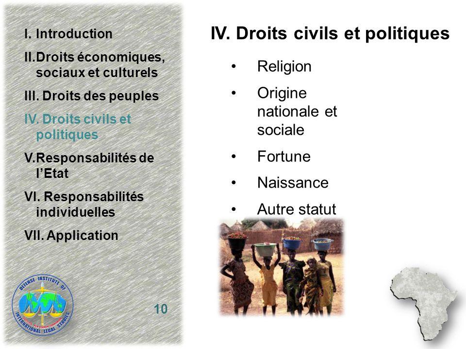 IV. Droits civils et politiques Religion Origine nationale et sociale Fortune Naissance Autre statut 10 I.Introduction II.Droits économiques, sociaux