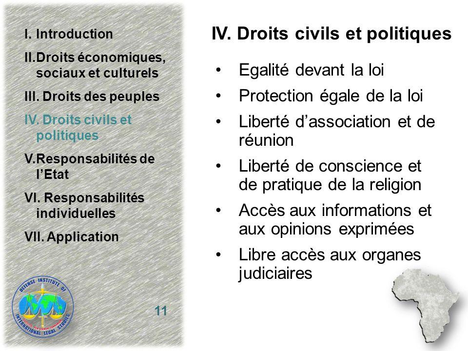 IV. Droits civils et politiques Egalité devant la loi Protection égale de la loi Liberté dassociation et de réunion Liberté de conscience et de pratiq