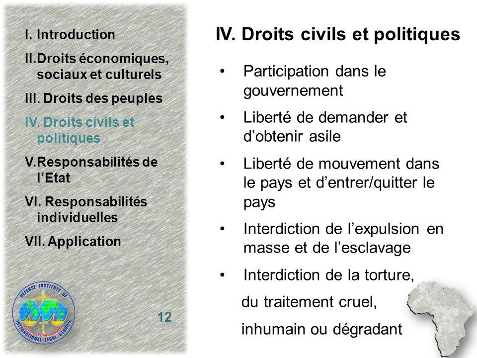 IV. Droits civils et politiques Participation dans le gouvernement Liberté de demander et dobtenir asile Liberté de mouvement dans le pays et dentrer/