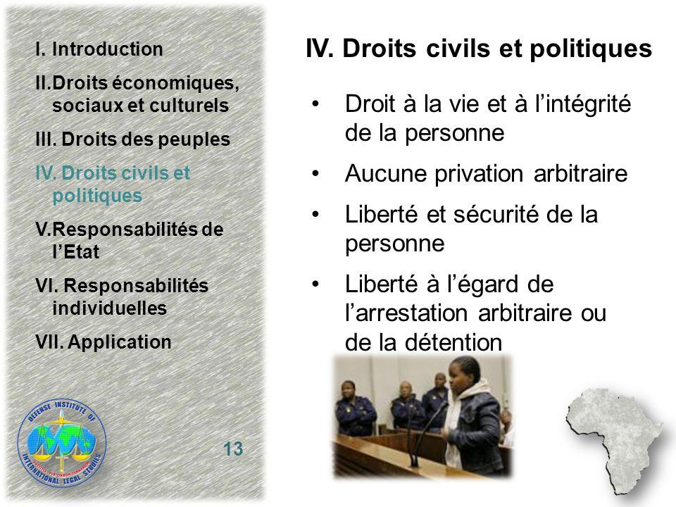 IV. Droits civils et politiques Droit à la vie et à lintégrité de la personne Aucune privation arbitraire Liberté et sécurité de la personne Liberté à