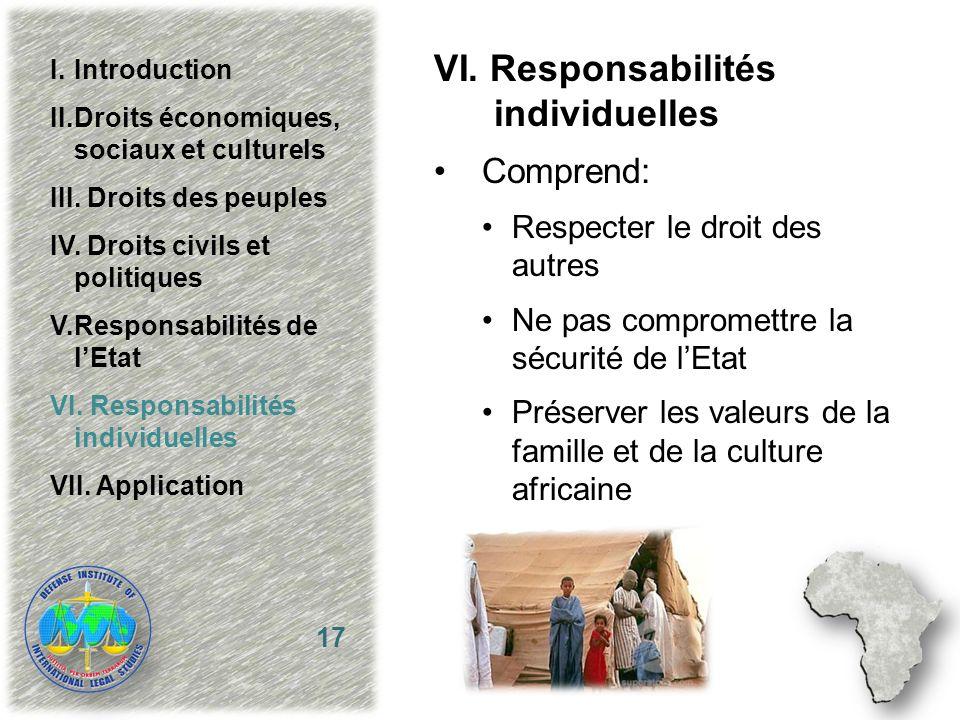 VI. Responsabilités individuelles Comprend: Respecter le droit des autres Ne pas compromettre la sécurité de lEtat Préserver les valeurs de la famille