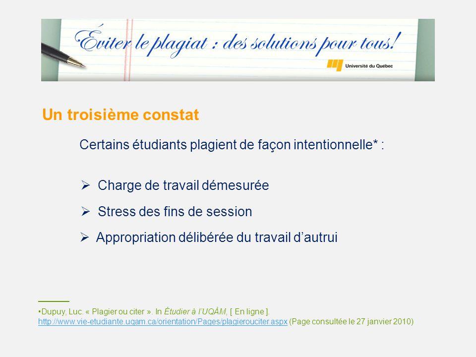 Un troisième constat Certains étudiants plagient de façon intentionnelle* : Charge de travail démesurée Stress des fins de session _______ Dupuy, Luc.