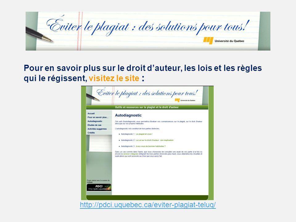 Pour en savoir plus sur le droit dauteur, les lois et les règles qui le régissent, visitez le site : http://pdci.uquebec.ca/eviter-plagiat-teluq/