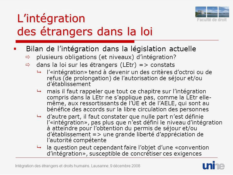 Lintégration des étrangers dans la loi Bilan de lintégration dans la législation actuelle plusieurs obligations (et niveaux) dintégration.