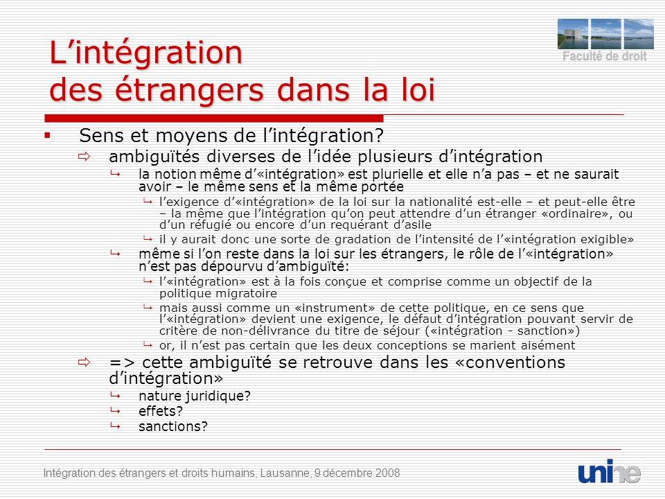 Lintégration des étrangers dans la loi Sens et moyens de lintégration.