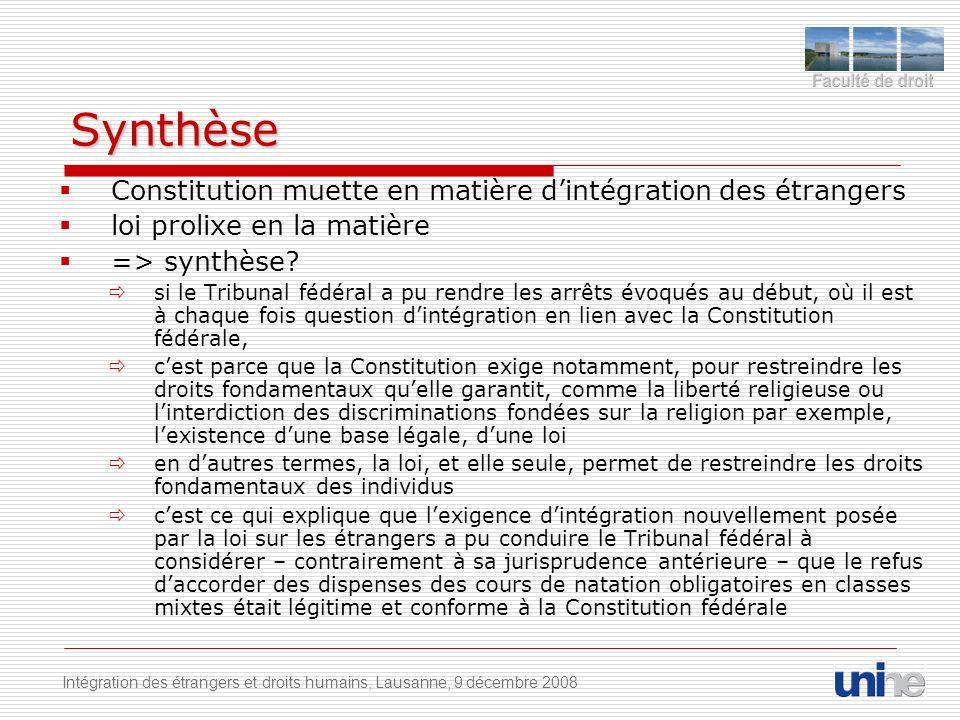 Synthèse Constitution muette en matière dintégration des étrangers loi prolixe en la matière => synthèse.