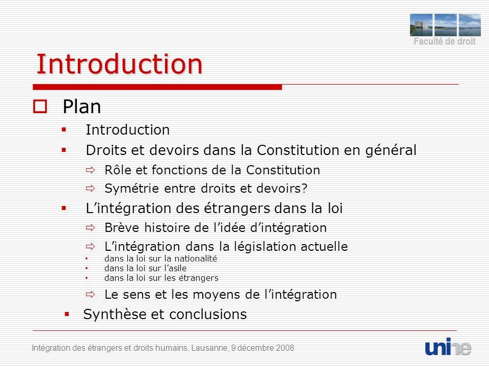 Introduction Plan Introduction Droits et devoirs dans la Constitution en général Rôle et fonctions de la Constitution Symétrie entre droits et devoirs.